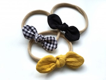 "3 mini headbands ""Black&Mustard"""